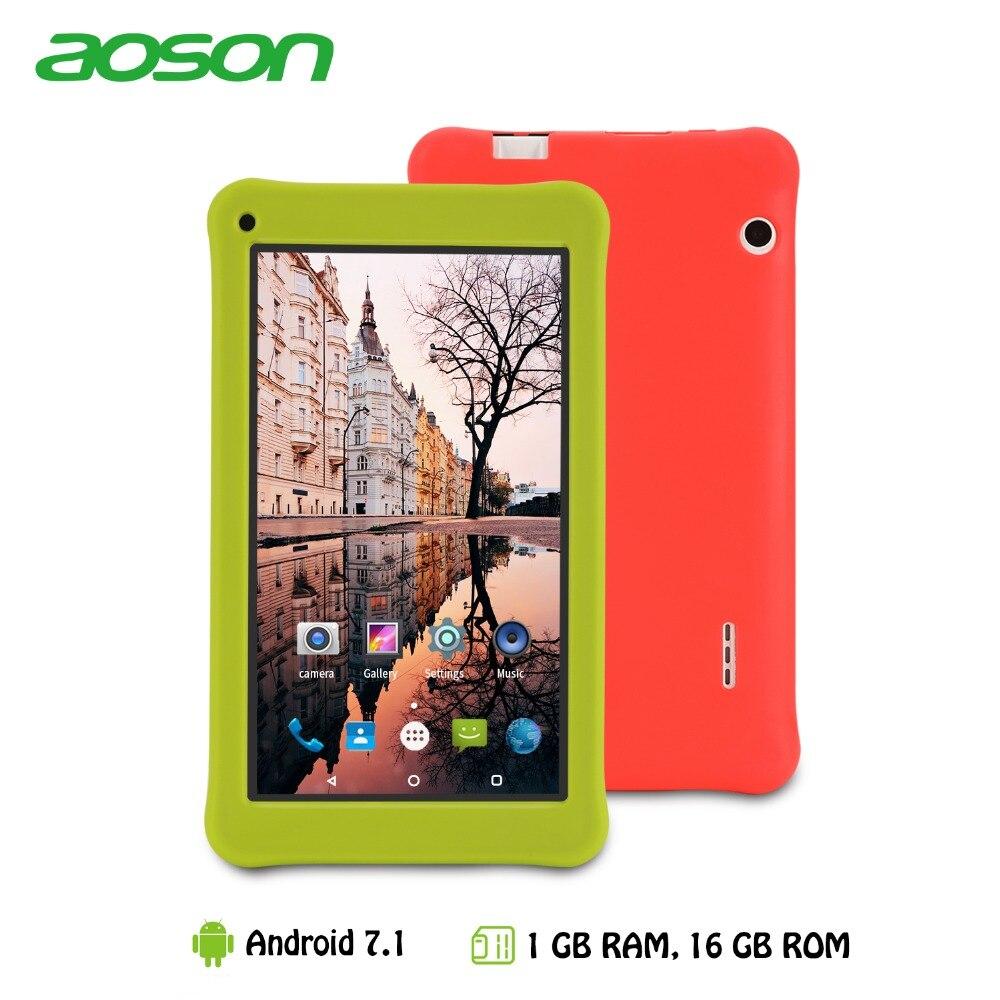 7 дюймов детский Подарочный планшет 16 ГБ/1 ГБ Android 7,0 aoson M753 планшетный ПК для обучения детей с силиконовый чехол программного обеспечения родительский Управление
