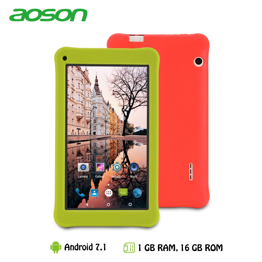 7 inch Kids Tablet 16 gb/1 gb Android 7.0 Aoson M753 Kids Gift Leren Tablet PC met Siliconen case Software Ouderlijke Controle