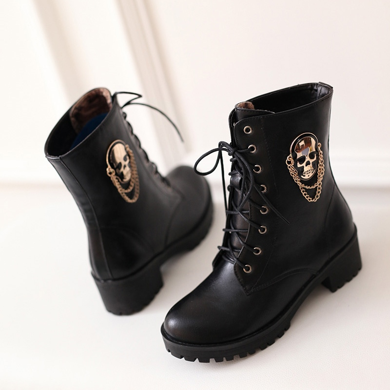 Image 5 - MORAZORA 2019 hot sale ankle boots for women skull street lace up platform women's boots fashion ladies autumn winter boots shoe-in Ankle Boots from Shoes