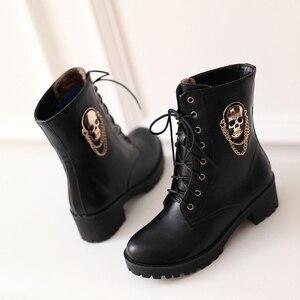 Image 5 - MORAZORA 2020 ขายร้อนข้อเท้ารองเท้าบูทสำหรับสุภาพสตรีSkull Street Lace Up Platformรองเท้าสตรีแฟชั่นสุภาพสตรีฤดูใบไม้ร่วงฤดูหนาวรองเท้ารองเท้า