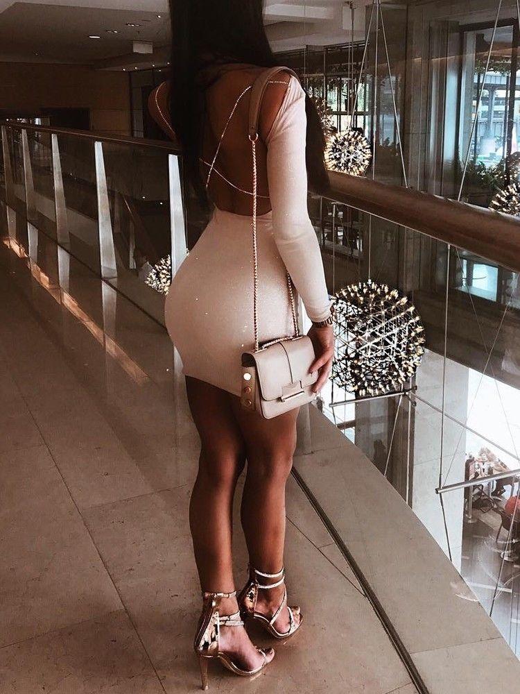 2018 Autumn Sexy Women's Bodycon Backless Party Cocktail Slim Short Mini Dress Fashion Long Sleeve Sheath White Mini Dresses