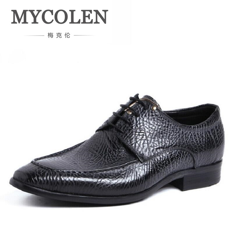 MYCOLEN Genuine Leather Men Oxford Shoes Lace-Up Business Men Shoes Brand High Quality Embossed Men Dress Shoes Deep Blue men luxury brand python leather dress shoes male high grade full leather oxford shoes lace up brown dress men free ship dhl page 1