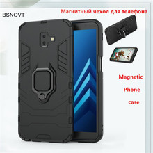 For Samsung Galaxy J6 Plus Case Magnetic Hard Finger Ring Anti-knock Prime Cover