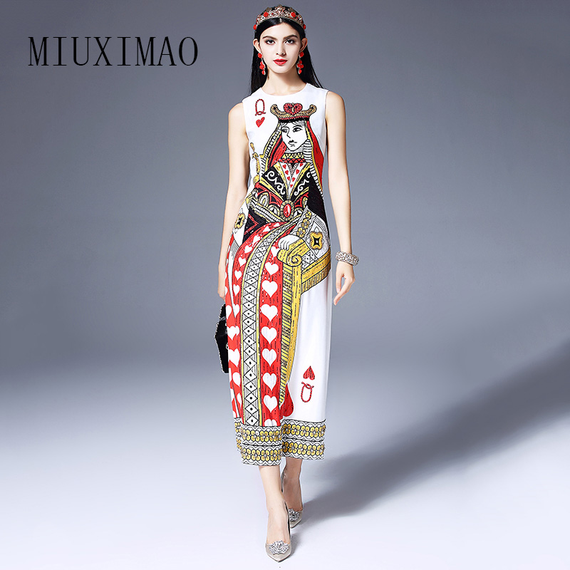 2018 Spring New Arrival Fashion O-Neck Tank Sleeveless Vintage Casual Playing cards Print Beading Ankle-Length Dress Women