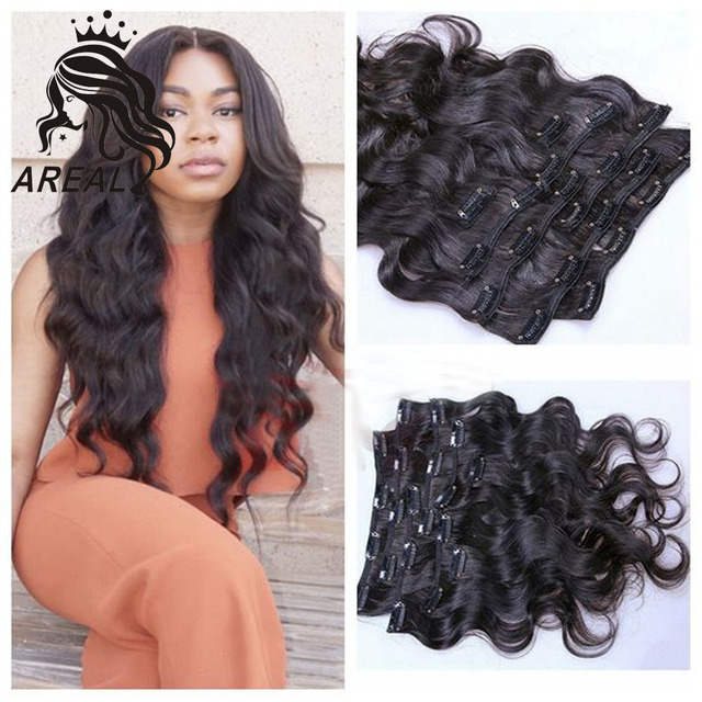 Brazilian Body Wave Clip Hair Extensions Natural Hair Wavy Remy