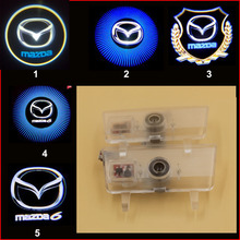2pcs HD 3d ghost shadow light mazda Atenza logo door light LED Welcome Light projector laser lamp no drill plug and play