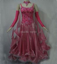 Hot sales!!! 5Color for choose Competition Elegant Long-sleeve Waltz Dance dress,Modern Dress,Tango Ballroom dance Dress B-0102