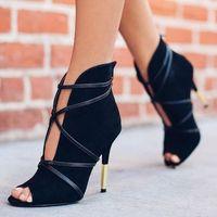 Đen Genuine leather mulheres sapatos e sandalias de salto alto Marca Partido Calcados Femininos Làm Dedo Làm Aberto