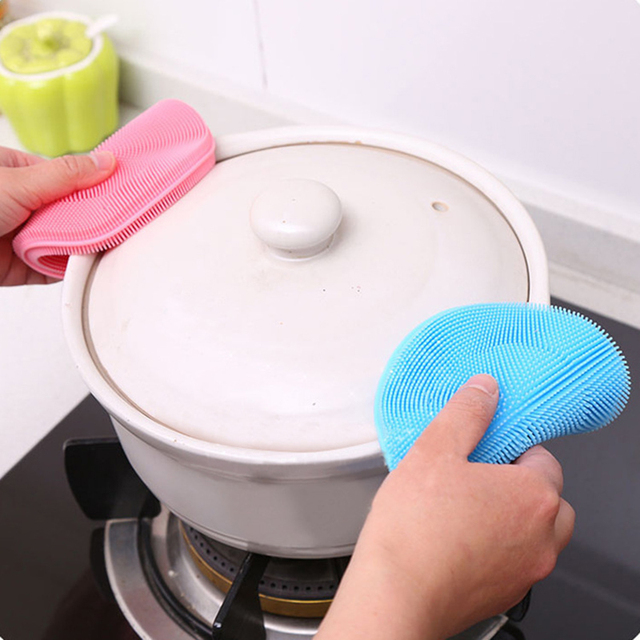 Kitchen Accessories Silicone Dish Kitchen Multifunction Pad Silicone Fruit Vegetable Sponge Cleaner Washing Kitchen Goods Tools