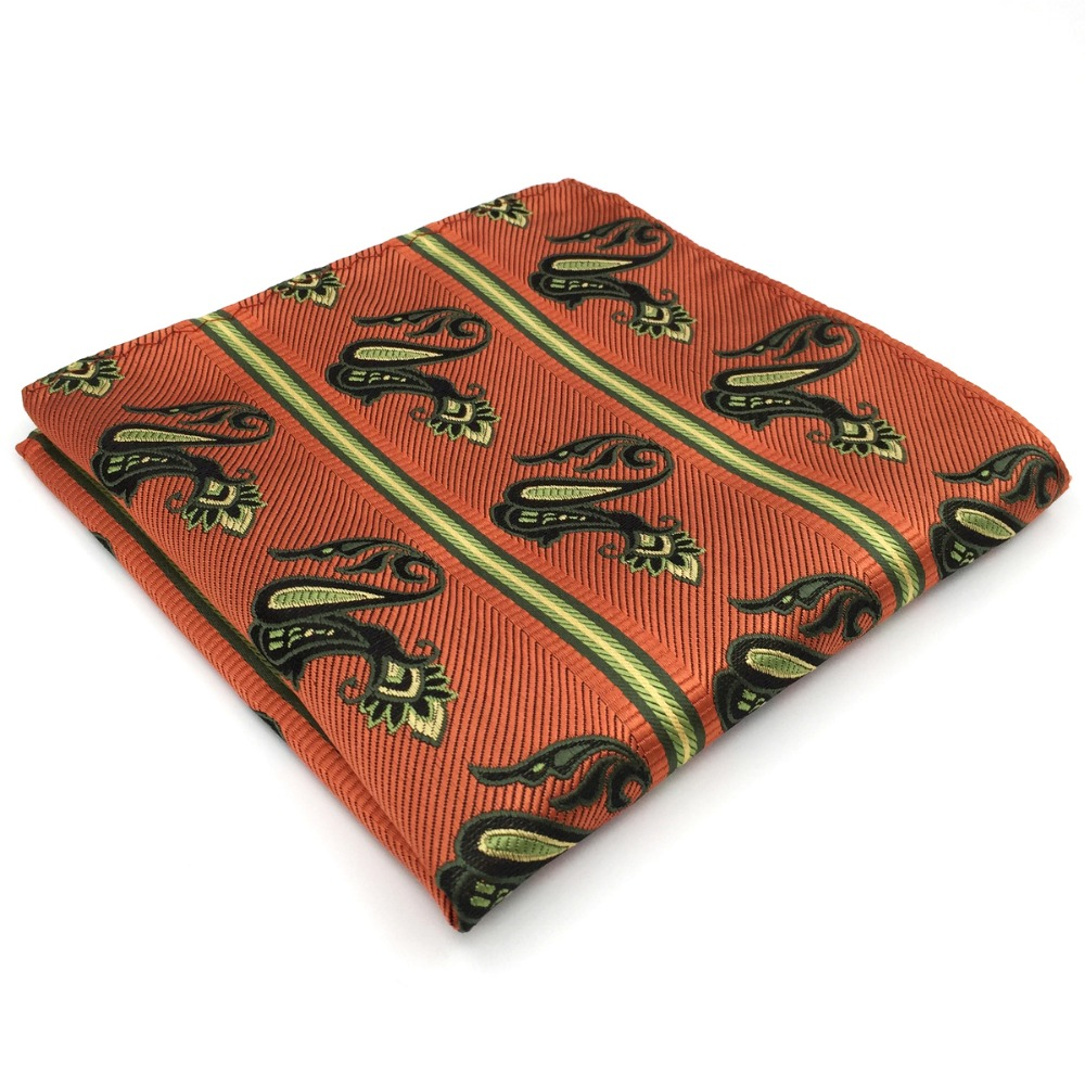 Paisley Orange Yellow Pocket Square Big Size Handkerchief Wedding Silk