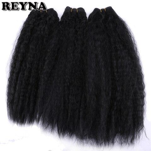 Extensão do Cabelo Pacotes de Cabelo para as Mulheres Reyna Kinky Reta Tecer Cabelo Sintético Pacotes 3 Peças Peso Total 210 Grama