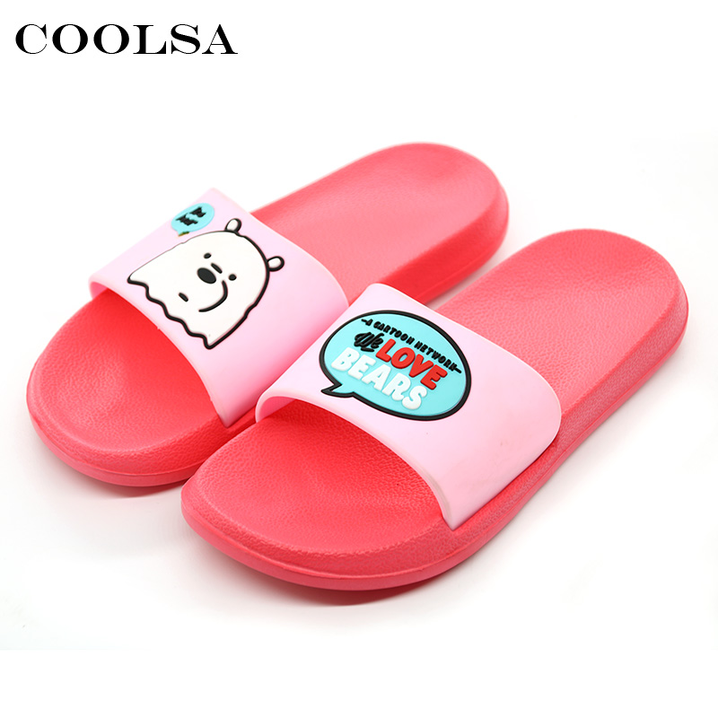 Coolsa Summer Women Beach Sandals Cute Cartoon Candy Color EVA Flat Soft Non Slip Indoor Slides Home slippers Girls Casual Shoes coolsa women s summer striped linen slippers breathable indoor non slip flax slippers women s slippers beach flip flops slides