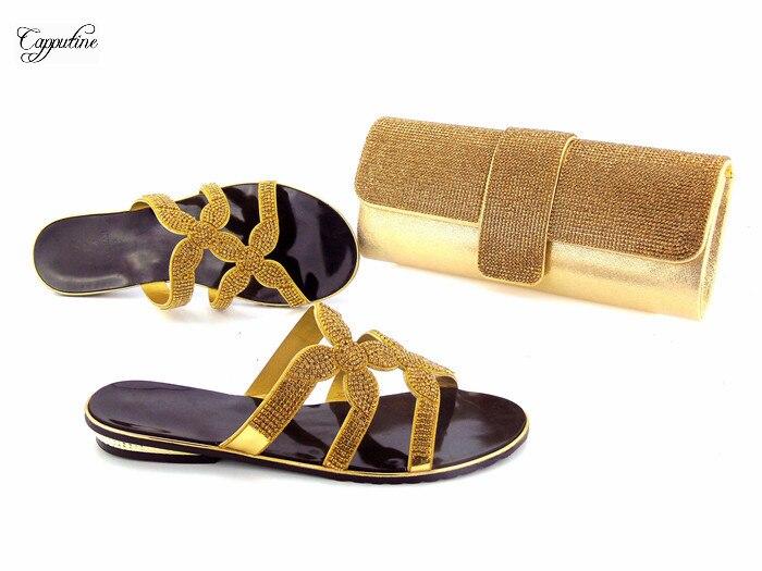 Africanos 20 Rhinestones De Fijados plata Bolso Señora Deslizador Los Con Moda Zapatos Negro oro Plata Y 1070 wqOXE8f