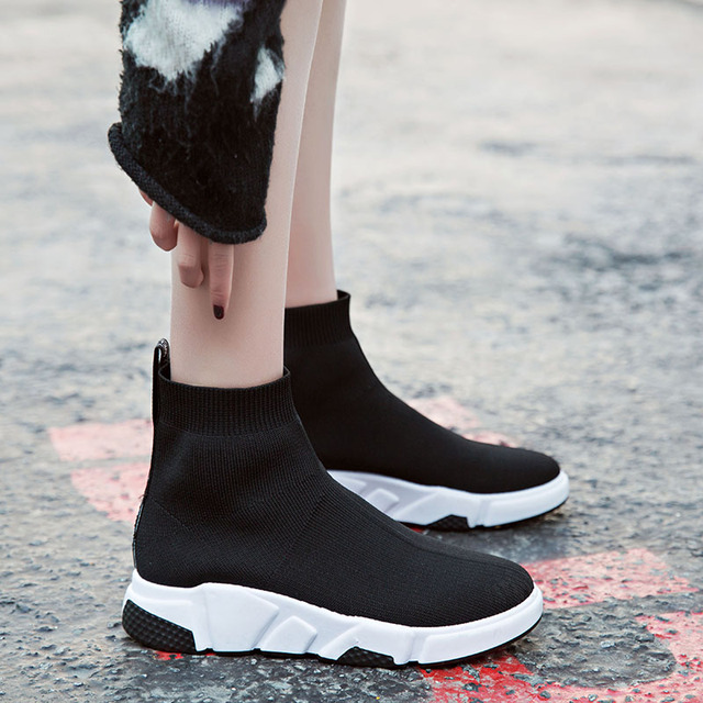 Sooneeya 2018 New Stretch Sock Shoes Woman Flats Fashion Bling Women Casual Shoes Elastic Sneakers Shoes Outdoor Female Loafers 1