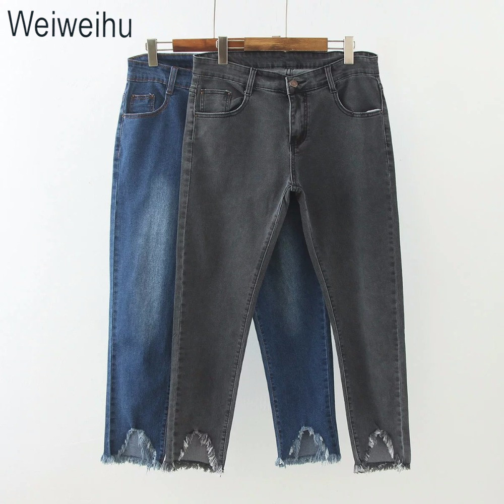 2018 Fashion Women Jeans Blue/Gray High Waist Casual Denim Ankle Ripped Hole Pencil Pants Jeans Trousers Female Plus Size XL~5XL fkz hot jeans women ankle length straight mid waist jeans fashion lady ripped loose fashion embroidery designer trousers gnjp018