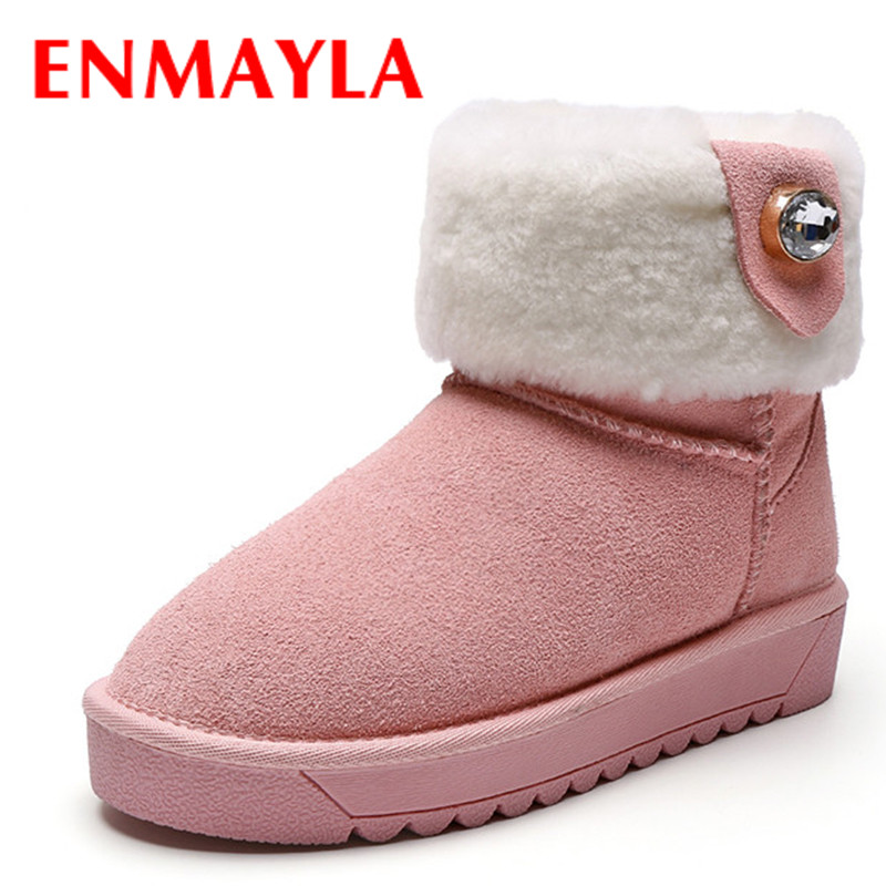 ФОТО ENMAYLA New Classic Black Shoes Woman Suede Ankle Boots for Women Flats Shoes Size 43 Platform Shoes Winter Warm Snow Boots