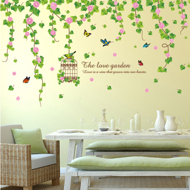 Creative Flower Wisteria Birdcage Wall Decor Decals PVC Material ...