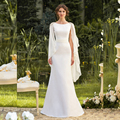 A line Simple Elegant Wedding Dresses with Cape Chiffon Scarf Greek Style Gracism Bridal Gown Made to Order Real Photo