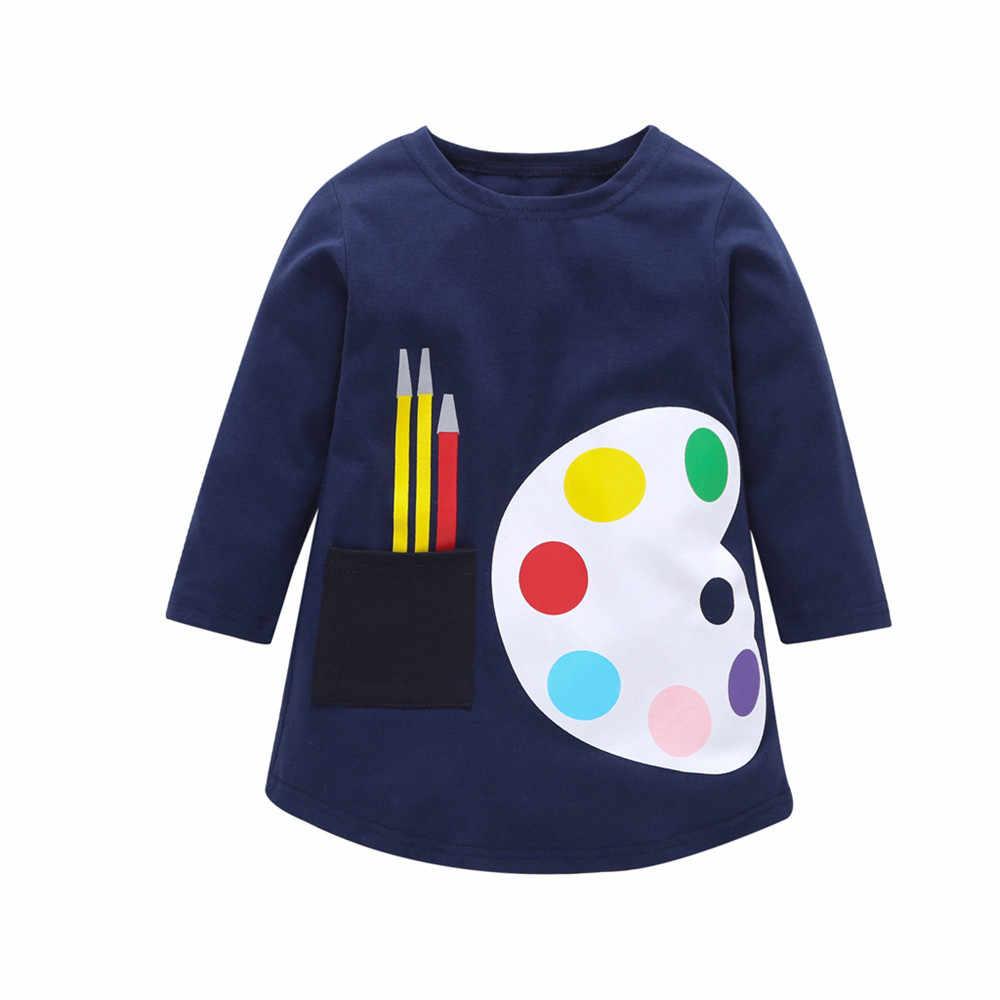 Детское платье для девочек от 1 до 7 лет платья с длинными рукавами для малышей летняя детская одежда Хлопковое платье принцессы для девочек детские топы
