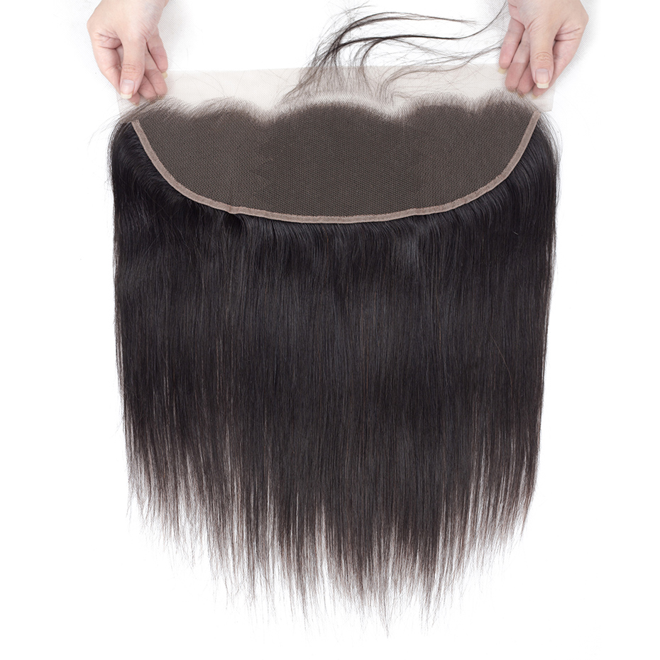 Human Hair Weaves Hair Extensions & Wigs Monika Hair Non Remy 360 Lace Frontal Closure Peruvian Straight Lace Frontal With Baby Hair Extensions Natural Color Frontals