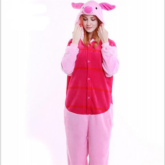 New Style Women s Pig Costume Men Cosplay Costumes Full Sleeve Polyester  Sleep Lounge Onesies Adult Footed Pajamas 7a4d464ff