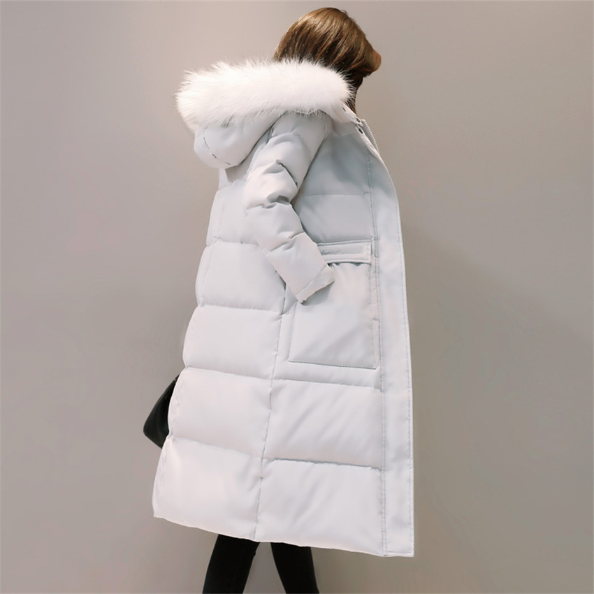 New Winter Women Down Coat Warm Thick Hooded White Duck Down Jacket Padded Large Fur Collar Long Parka Coats Female Outwear A672 2017 winter jacket women fashion coat fur collar cotton padded hooded thick warm outwear parka slim female down six colors m 3xl