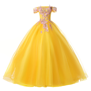 Image 5 - EZKUNTZA New Quinceanera Dresses Gold Off The Shoulder Flower Ball Gown Party Prom Quinceanera Gown Vestidos De Quincea Era 2019