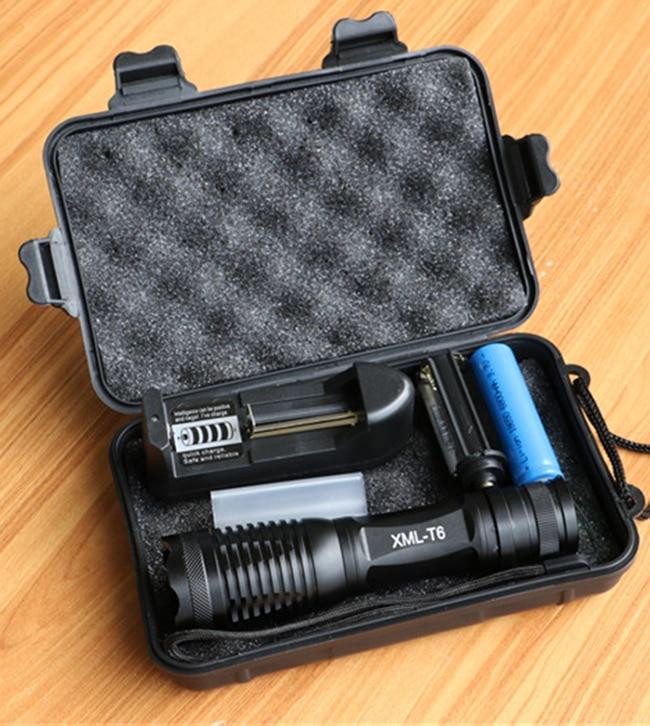 CREE XML T6 LED Flashlight 10000 Lumens Lanterna High Power Adjustable led Torch Zoomable Flashlight + Charger +1* 18650 Battery