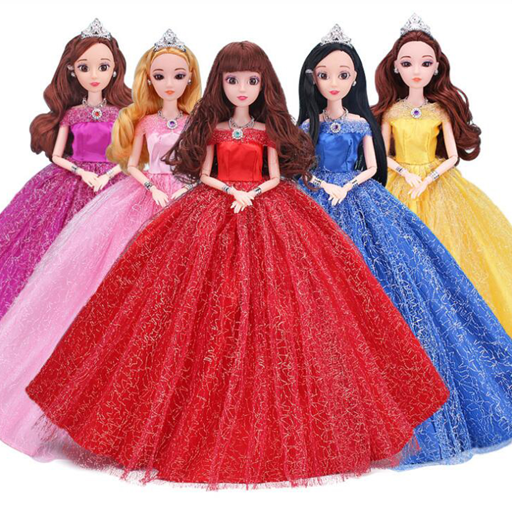 NK One Pcs Princess Doll Wedding Dress Full Lace Around The Dress Party Outfit For Barbie Doll Best Girls' Gift Accessories JJ