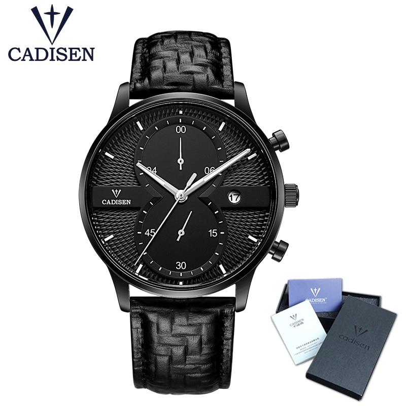 Heren Horloges Topmerk Luxe CADISEN Mode Bedrijf Quartz Horloge Heren Sport Lederen Waterdicht Horloge relogio masculino