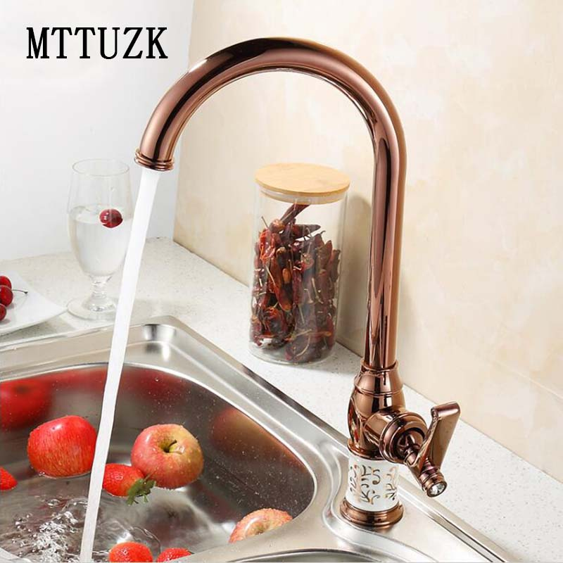 MTTUZK Kitchen faucet Golden Rose gold Copper for cold and hot water tap Sink faucet Vegetable washing basin 360 rotating faucet mttuzk kitchen faucet golden rose gold copper for cold and hot water tap sink faucet vegetable washing basin 360 rotating faucet