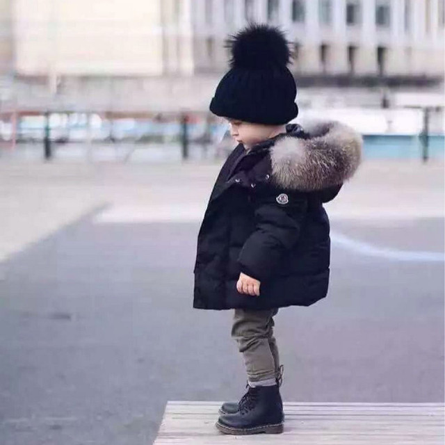 2017 New Children's Winter Jackets Boys Down Parka Girls Thicken Fur Hooded Coats Thermal Snowsuit 1-8Y Kids Brand Clothes