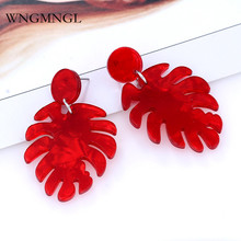 WNGMNGL 2018 New Female Drop Earrings Bohemia Long Statement Red Green Blue Geometric Leaf Resin For Women Jewelry Gift