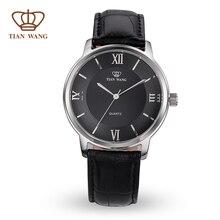 Аутентичные Ван Тянь Бренда мужские часы СС случае натуральная кожа полоса для мужчин свободный корабль 24 часа отправки GS3702S