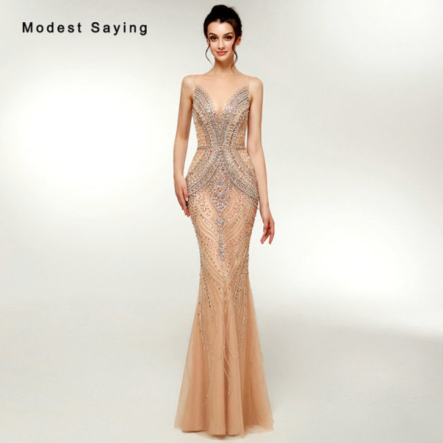 Luxury Nude Mermaid Beaded Sparkly Evening Dresses 2018 with Rhinestone  Sexy Sheer Women Party Prom Gowns Custom Made Handmade 01585e3566cd
