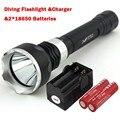 Новые Подводные 2000LM Дайвинг Фонарик Факел XML-T6 LED Свет Лампы Водонепроницаемый Супер T6 LED и 2*18650 Батарей и зарядное устройство