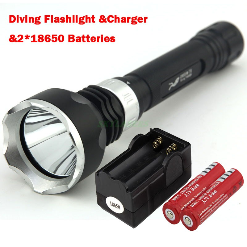 New Underwater 2000LM Diving Flashlight Torch XML-T6 LED Light Lamp Waterproof Super T6 LED & 2*18650 Batteries&Charger фонарик xml t6 838 2000lm e6