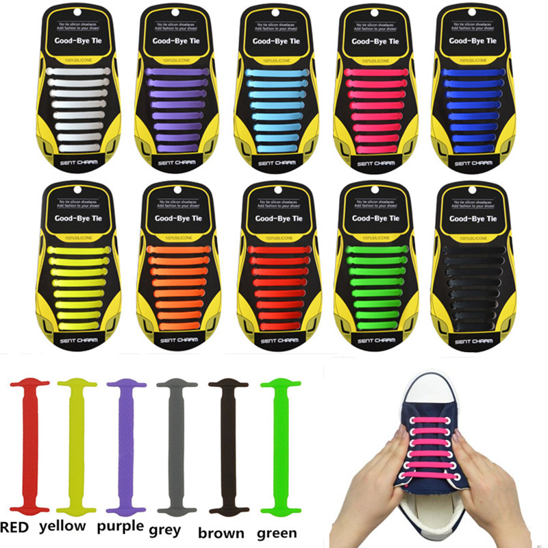 16pcs/lot Novelty Athletic Running No Tie Shoelaces Unisex Elastic Silicone Lazy Shoe Laces For Men Women All Sneakers Fit Strap siketu 12pcs novelty unisex no tie shoelaces silicone elastic sneaker lazy shoe laces jn6 y20