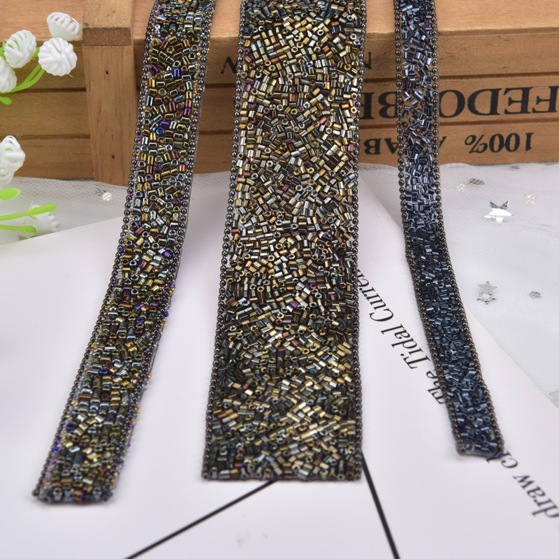 1 yard Hot fix Iron On Rhinestone Ribbon Back Glue Banding Trim DIY Party Dress