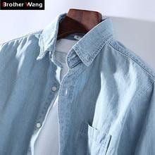 3 색 2020 새로운 남성 캐주얼 데님 셔츠 패션 캐주얼 코 튼 슬림 맞는 카우보이 긴 소매 셔츠 남성 브랜드 의류