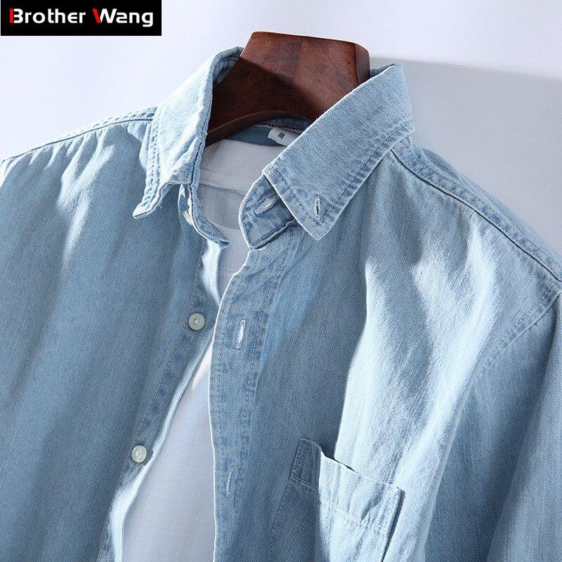3 Colors 2019 New Men's Casual Denim Shirt Fashion Casual Cotton Slim Fit Cowboy Long Sleeve Shirt Male Brand Clothes
