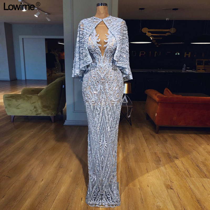 Real Photo African Mermaid Lace   Evening     Dresses   With Jacket Illusion Dubai Turkish Arabic Formal Appliques   Evening   Gowns