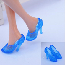 1Pair Imitation Fairy Tale Crystal Shoes For Fashion Doll Shoes High Heels Sandals For Dolls Baby Toy(China)