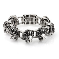 KB40288 D European And American Fashion New Titanium Steel Bicycle Chain Bracelet Lionhead Bracelets For Men