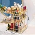 Органайзер для макияжа из золотистого стекла  органайзер для хранения косметики  парфюмерии  помады  витрина  чехол  подставка  держатель