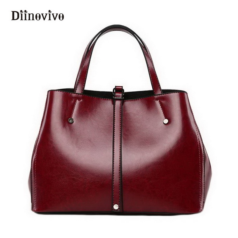 DIINOVIVO Fashion Women Tote Luxury Leather Shoulder Bags Vintage Ladies Bags Brands Designer Handbags High Quality Sac WHDV0118 fashion luxury handbags women leather composite bags designer crossbody bags ladies tote ba women shoulder bag sac a maing for