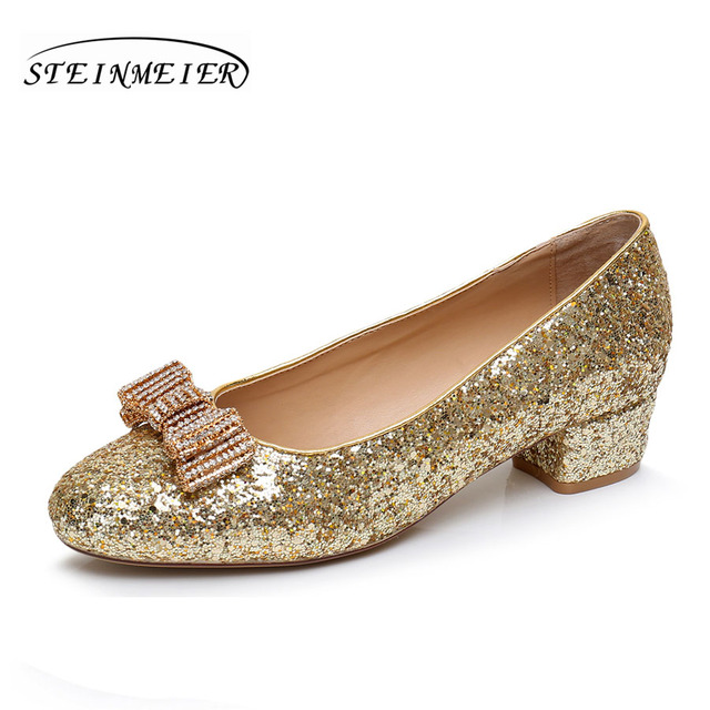 Women high quality gold 4cm middle heels shoes sweet rhinestone bow nightclub shallow women's silver gold wedding party shoes