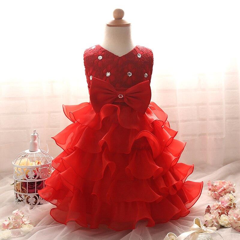 2018 New Newborn Dresses 3 6 9 12 24 Month Red White Christening Dress Kids Birthday Party Dress Baby Princess Tutu Costume 2M09