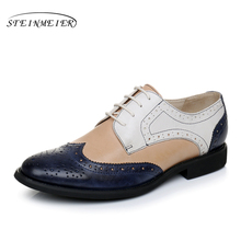 woman genuine sheep skin leather carved platform zapatos oxford mujer feminino shoes for women oxfords retro flat shoes us8