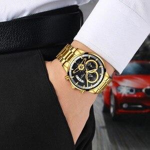 Image 5 - Nibosi relógio de pulso automático masculino, relógio de quartzo marca de luxo dourado com data, luminoso, calendário, relógio de pulso